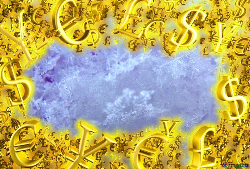 Macro snow Sale Background Gold money frame border 3d currency symbols business template №47968