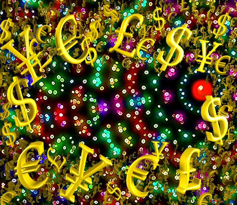colorful texture pattern Gold money frame border 3d currency symbols business template №40439