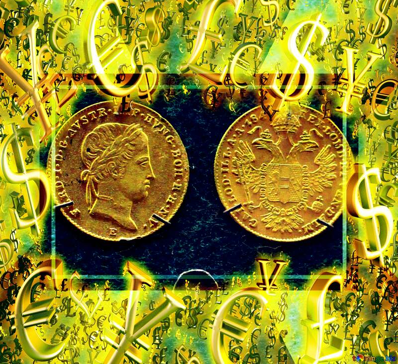 Old Coins Gold money frame border 3d currency symbols business template №43589