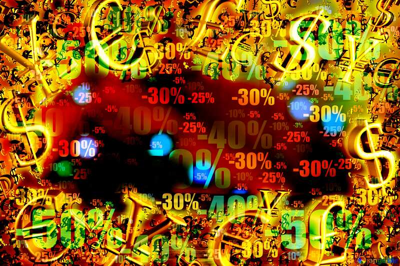 Winter Discount Gold money frame border 3d currency symbols business template №48071