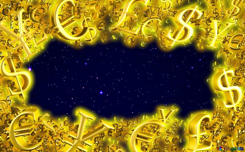 Starry sky Gold money frame border 3d currency symbols business template №44729