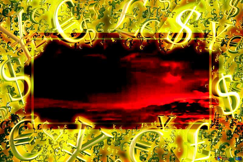 Red sunset Gold money frame border 3d currency symbols business template №44627