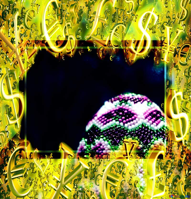 Gold money frame border 3d currency symbols business template Easter Sales Promotion Background №49164