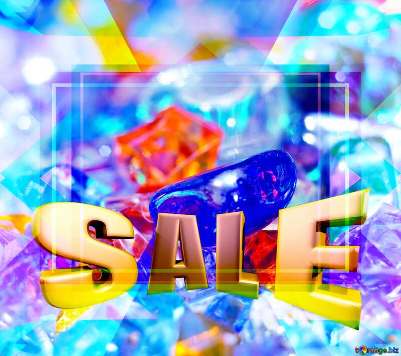 Sales promotion 3d Gold letters sale background Festive Frame Motley Template №6518