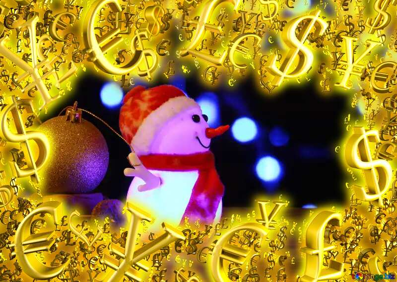 Sales promotion 3d Gold letters sale background Christmas Snowman Template Gold money frame border 3d currency symbols business №48112