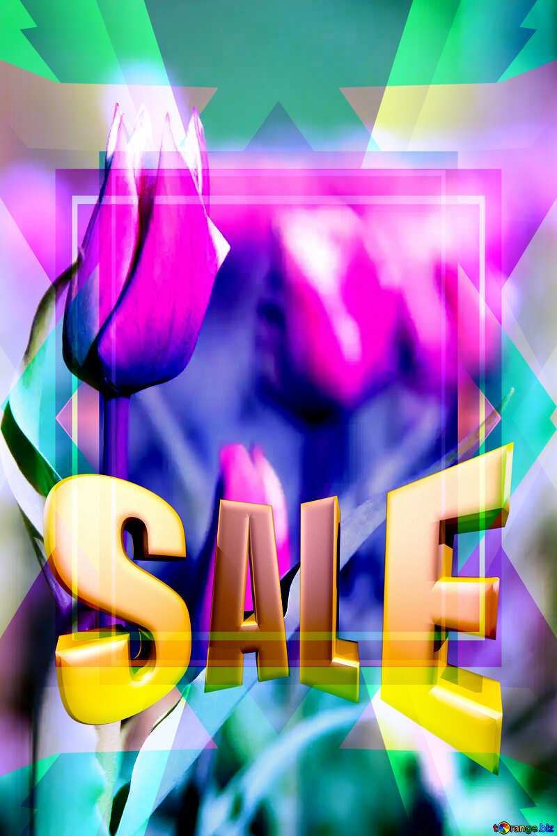 Pink Flower Frame Template Sales promotion 3d Gold letters sale background №1660