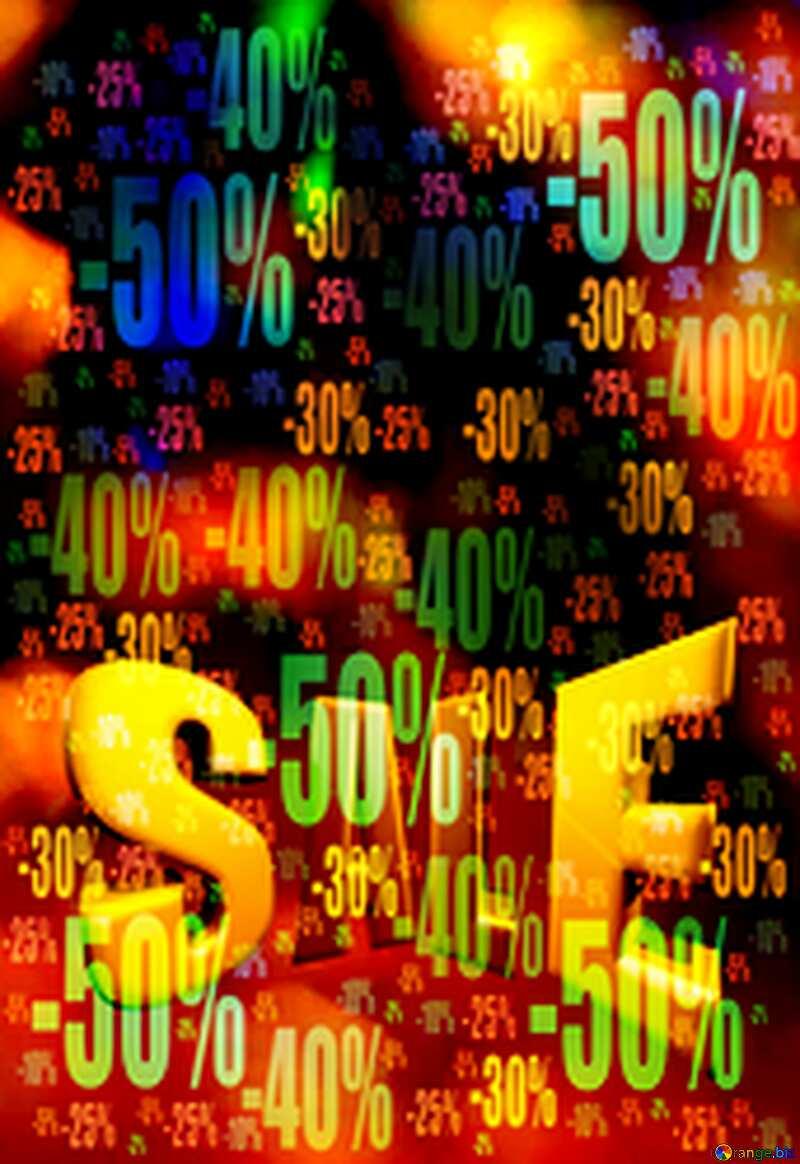 Color festive background. Sales promotion 3d Gold letters sale Discount №7343