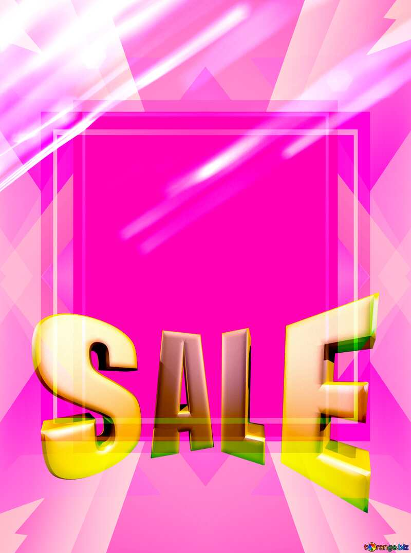 Blank Design Frame Template Sales promotion 3d Gold letters sale background Pink №1699