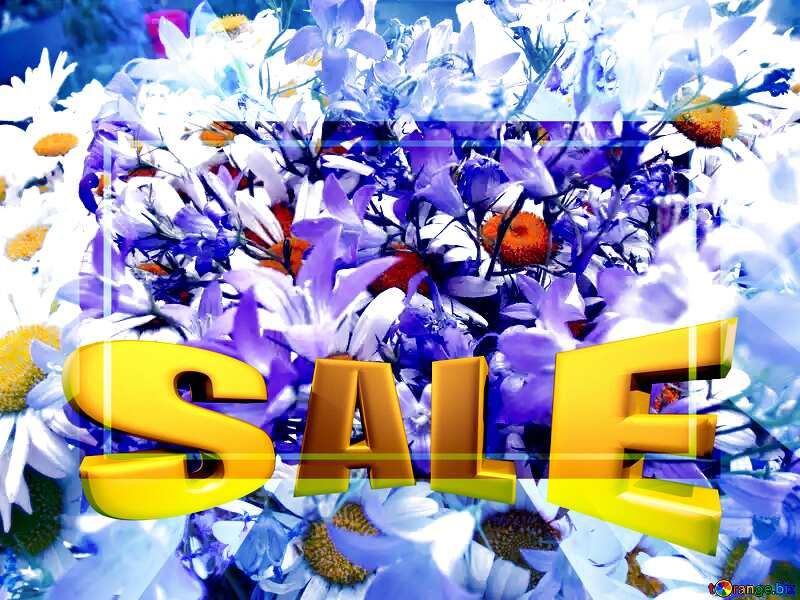 Bouquet. Daisies and Bells Sales promotion 3d Gold letters sale background Template №9802