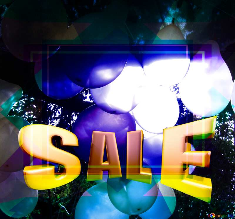 Garland of the inflatable balls Sales promotion 3d Gold letters sale background Template №5790