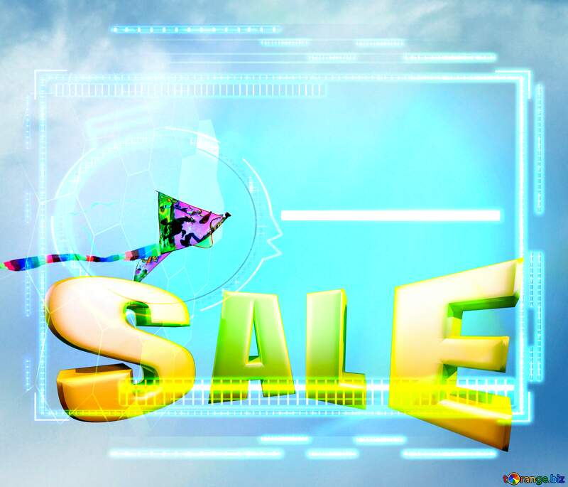Kite in the sky Sales promotion 3d Gold letters sale background Template №13410