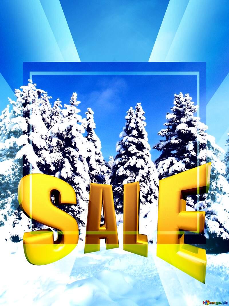 Tree Snow sun Winter Sales promotion 3d Gold letters sale background Template №10576