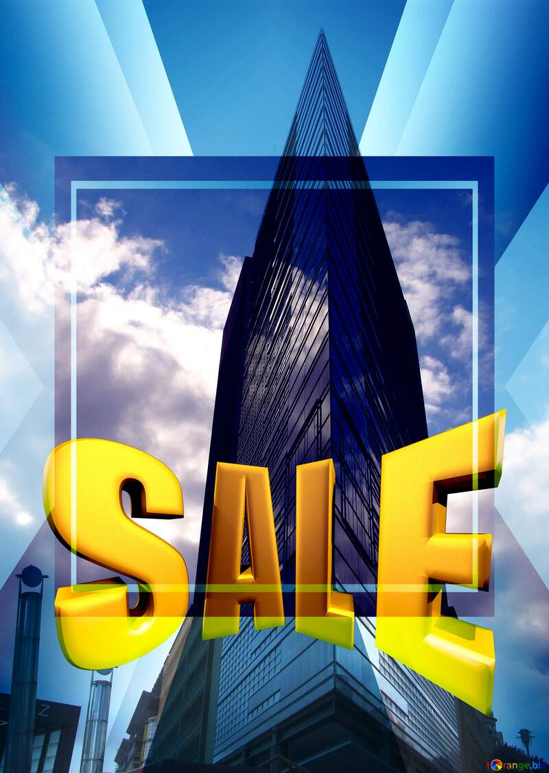 Modern architecture Sales promotion 3d Gold letters sale background Template №12135