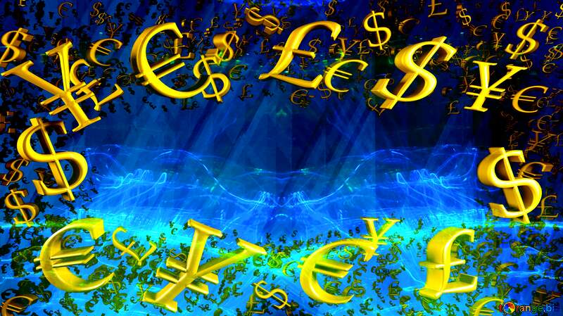 Gold money frame border 3d currency symbols business template Lights Blue Technology Template №51526