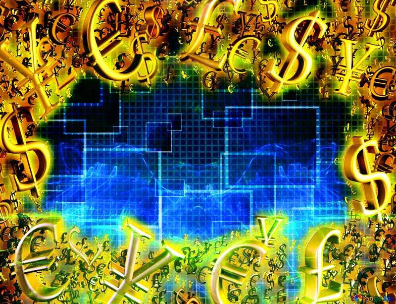 Gold money frame border 3d currency symbols business template Pattern Techno Line Background №49678
