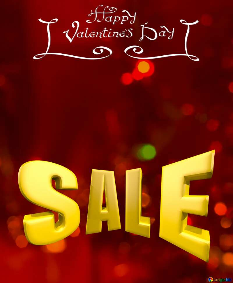 Valentines background Sale offer discount template Sales promotion 3d Gold letters №15110