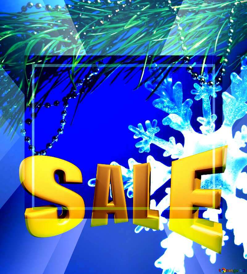Winter sale snowflake snow template discount promotion Sales promotion 3d Gold letters sale background №2393