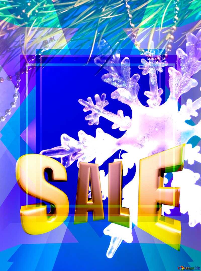 Winter sale snowflake promotion blank templateblue Sales promotion 3d Gold letters sale background №2393