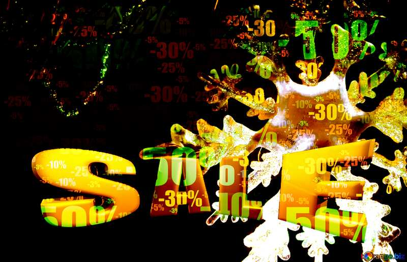 Store discount dark background. Snowflake Sale Template Sales promotion 3d Gold letters №2393