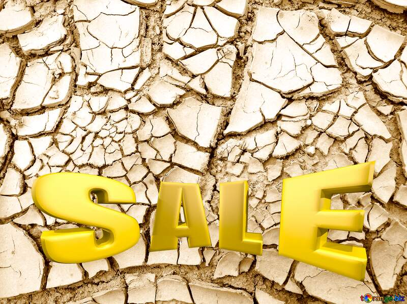 Template background for the label. Cracked earth. Large. Sales promotion 3d Gold letters sale №627