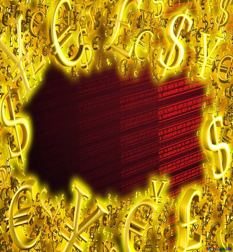 Gold money frame border 3d currency symbols business template Red Dark Binary Data Background №49673