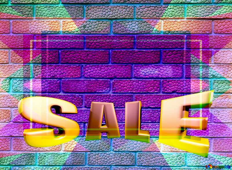 Sales promotion 3d Gold letters sale background Red Texture Bricks Template №5326