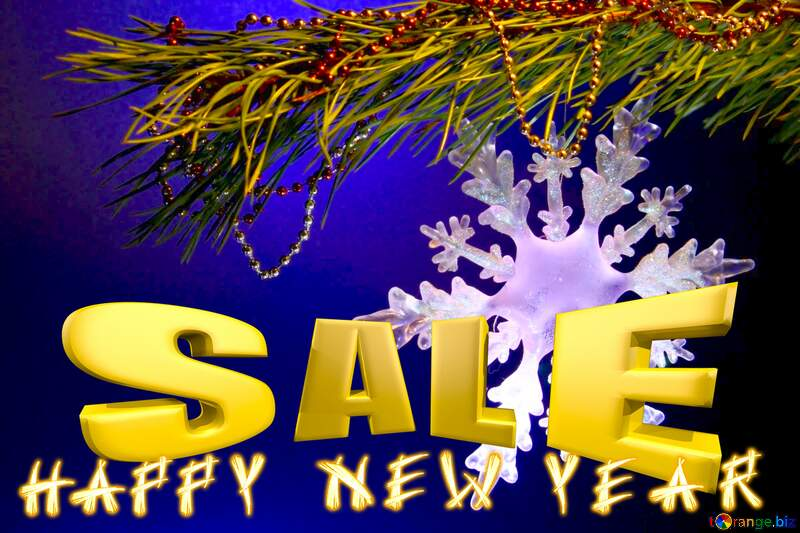 happy New year Winter sale snowflake banner template Sales promotion 3d Gold letters sale background №2393