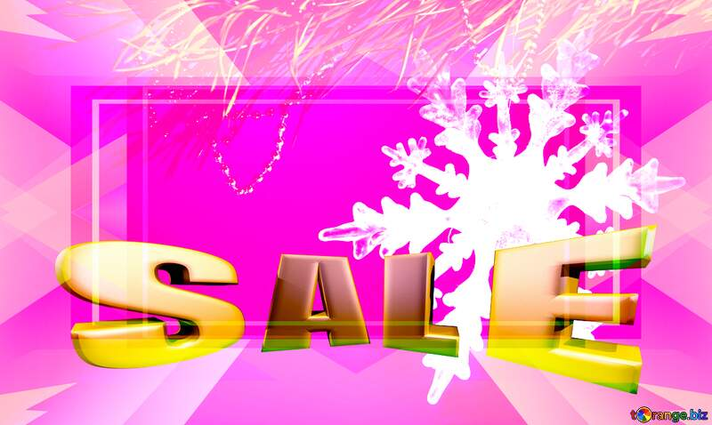 Winter sale snowflake pink responsive layout template Sales promotion 3d Gold letters sale background №2393