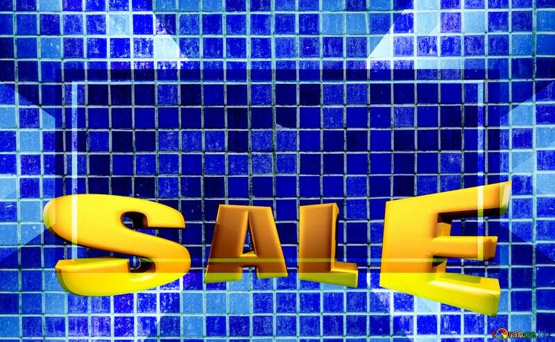 Texture.Mosaic tiles. Sales promotion 3d Gold letters sale background Blue Template №12763