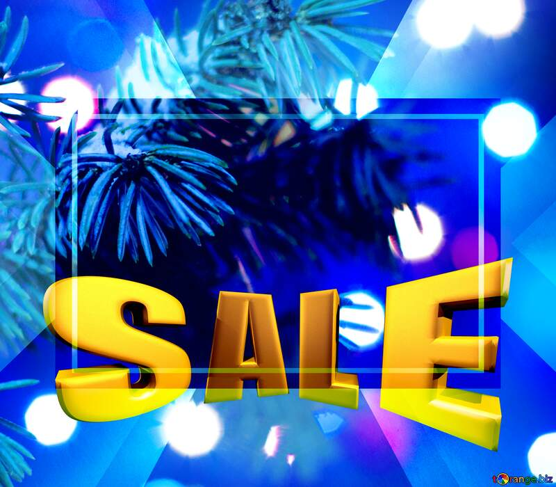 Christmas Tree Sales promotion 3d Gold letters sale background Design Template №15316