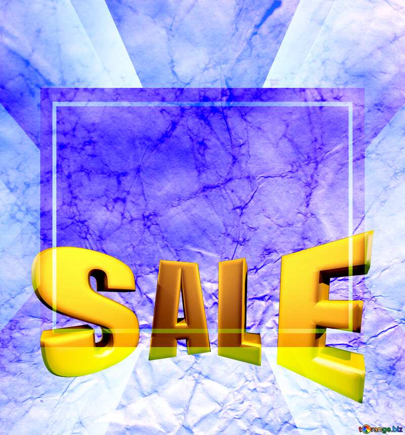 Texture of crumpled paper Sales promotion 3d Gold letters sale background Blue Template №16030