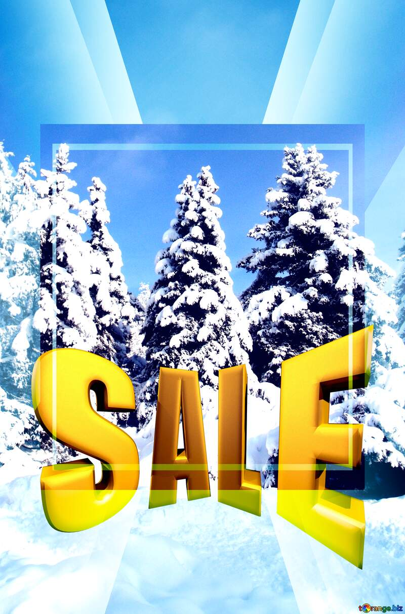 Tree Snow sun Sales promotion 3d Gold letters sale background Forest Template №10576