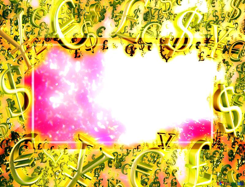 Gold money frame border 3d currency symbols business template Snow Winter Design Background №47973