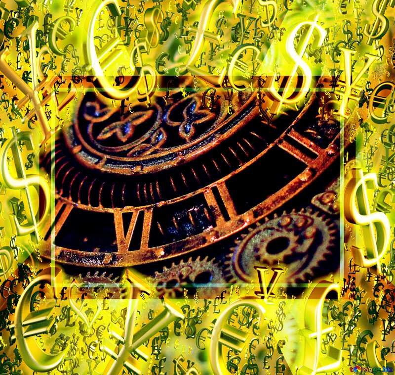 Gold money frame border 3d currency symbols business template Steampunk Style Time Background №48981