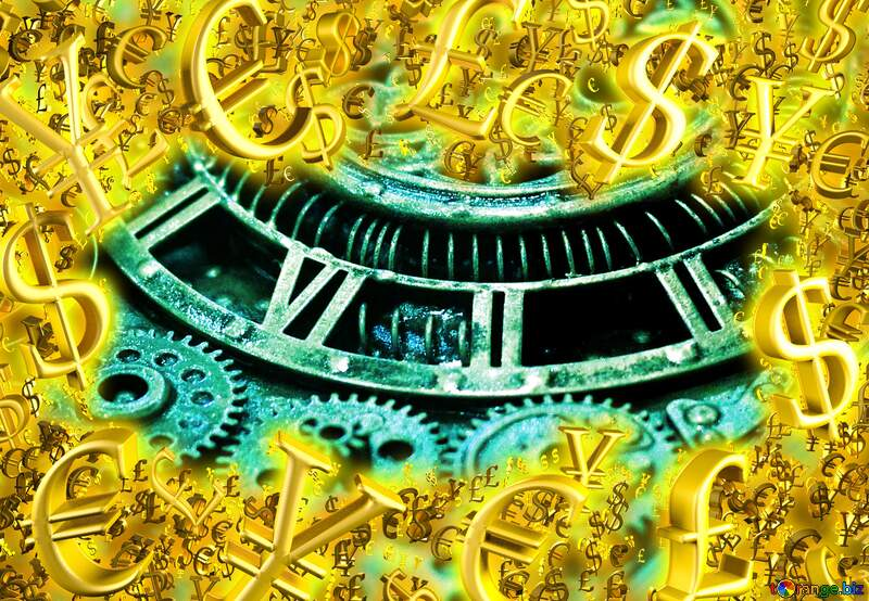 Steampunk Gold money frame border 3d currency symbols business template Background №48981