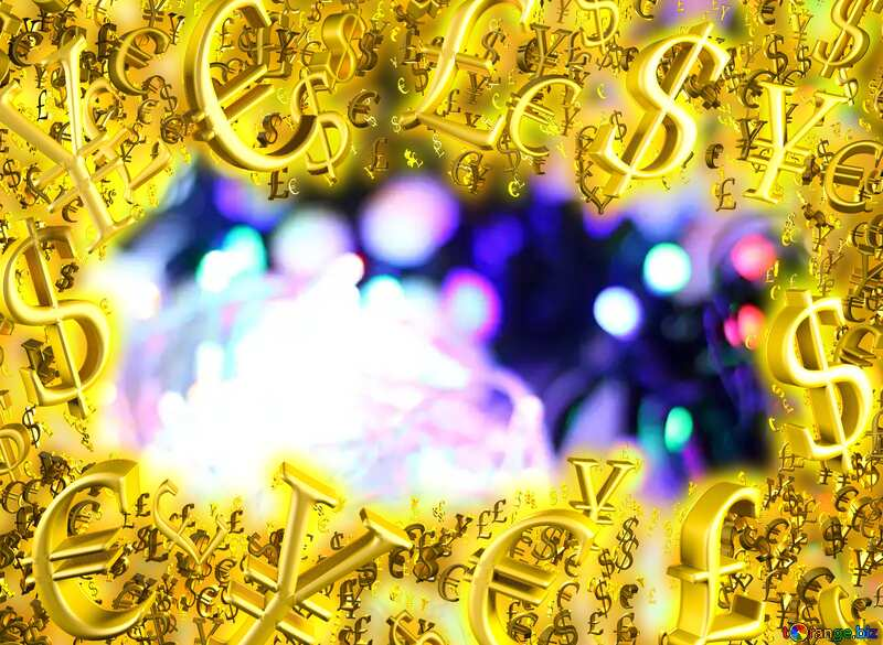 Blurred christmas background background colored lights garlands Sale offer discount template Gold money frame border 3d currency symbols business template №47908