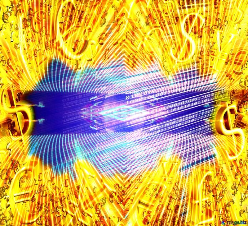 Digital computer bokeh background Sale offer discount template Gold money frame border 3d currency symbols business template №49673
