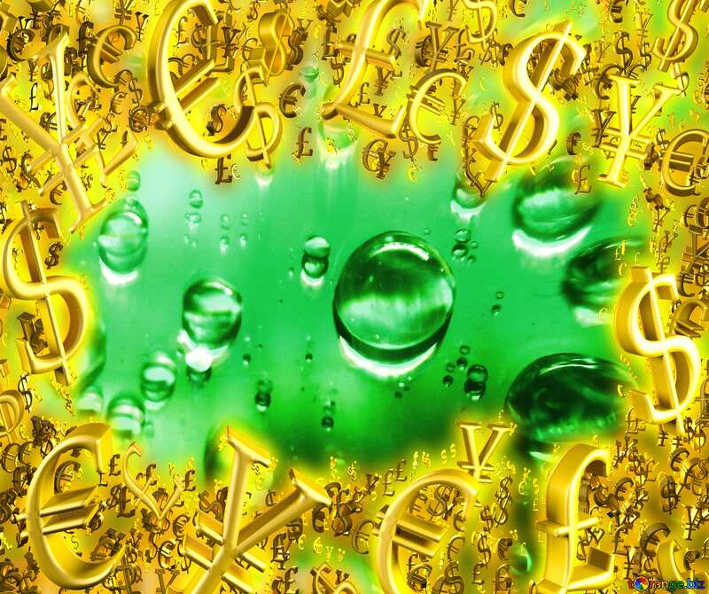 Raindrops green background Sale offer discount template Gold money frame border 3d currency symbols business template №47981