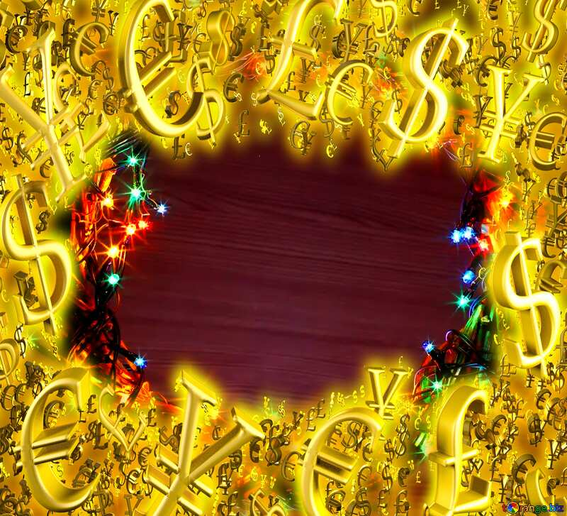 Christmas wreath copy space background Sale offer discount template Gold money frame border 3d currency symbols business template №48021