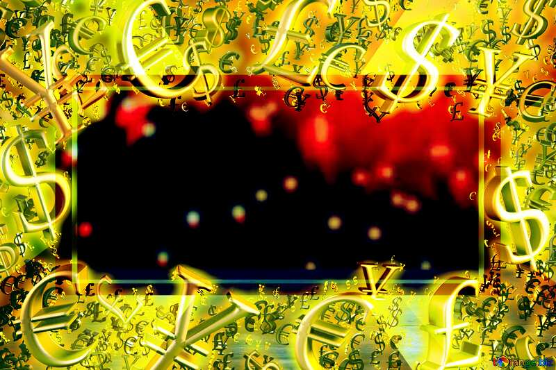 Gold money frame border 3d currency symbols business template Christmas Blurry Background №48072