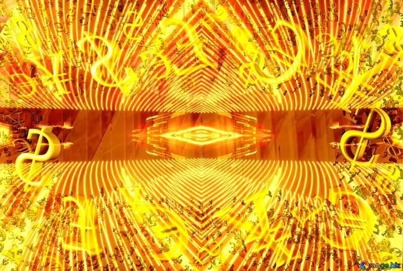 Gold money frame border 3d currency symbols business template Futuristic Geometric Shape №51526