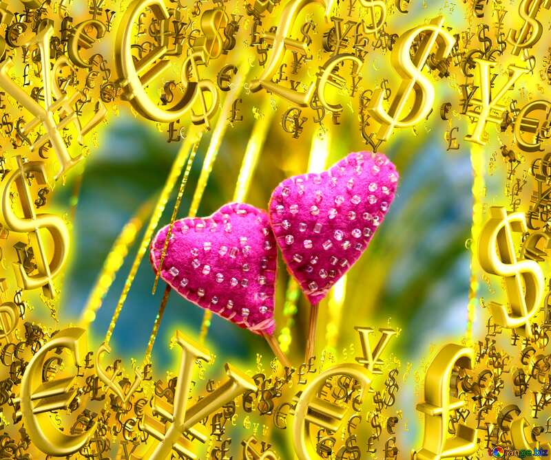 Gold money frame border 3d currency symbols business template Hearts Love Background №49200