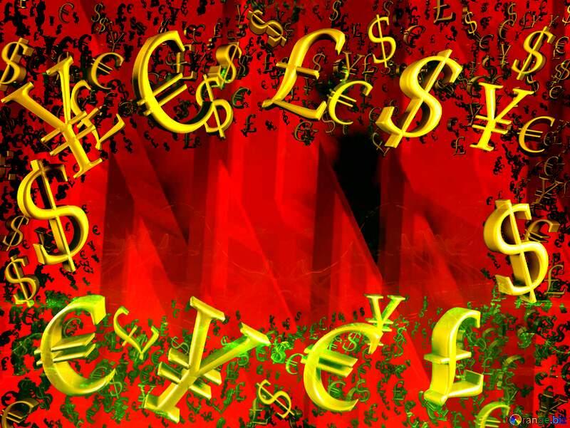 Gold money frame border 3d currency symbols business template Hot Sale Background №51526