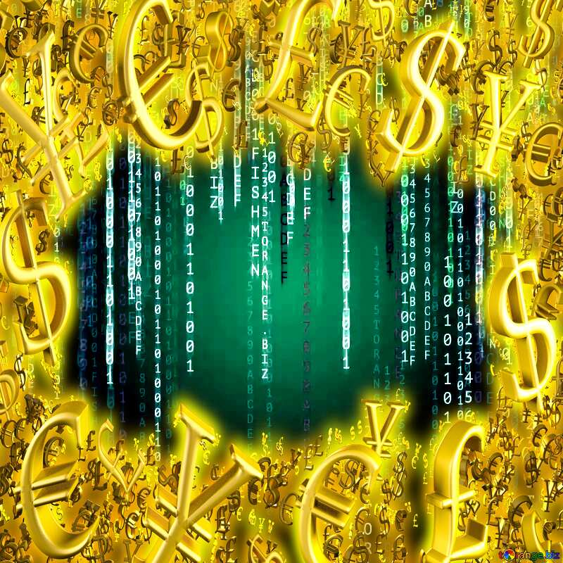 Gold money frame border 3d currency symbols business template Matrix Style Background №49671