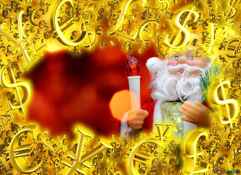 Gold money frame border 3d currency symbols business template Santa Claus Background №48170