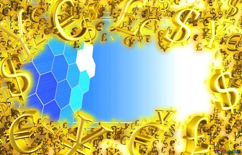 Gold money frame border 3d currency symbols business template Technology Promotion Background №49674
