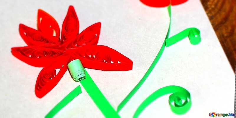 Children`s crafts flower made by quelling №36322