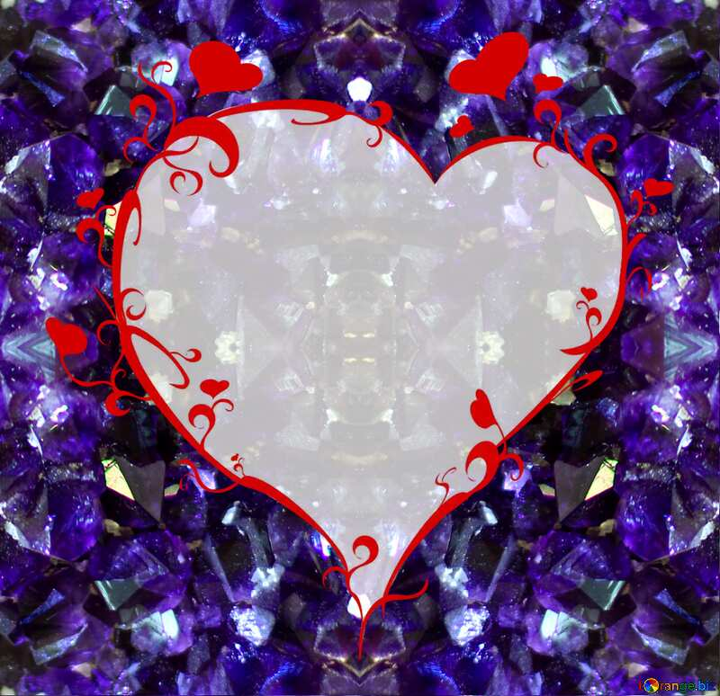 Amethyst frame with heart №44680
