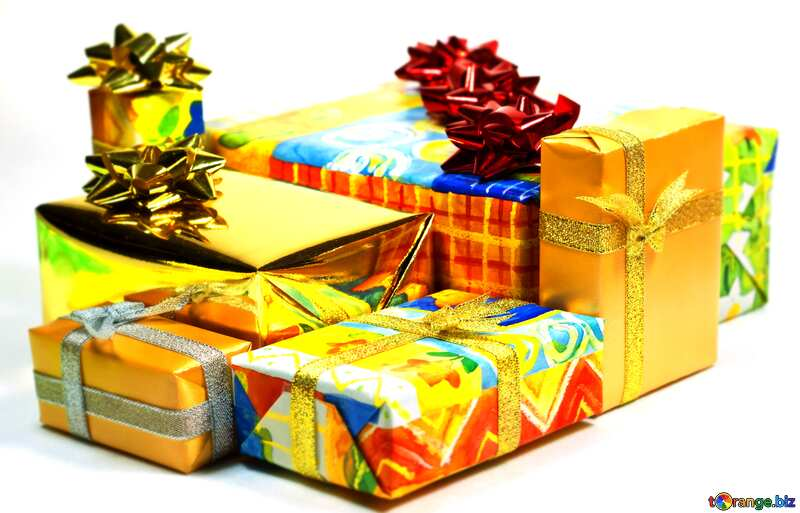 Bright colors. Boxes   gifts  at  White  background. №6728
