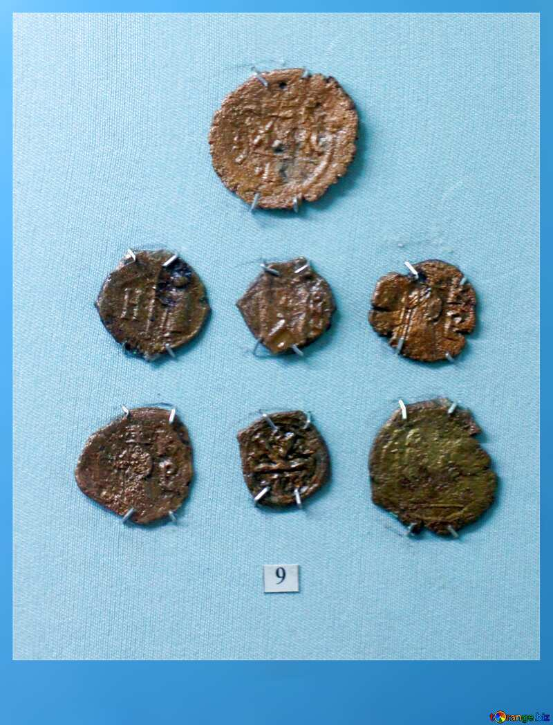 With place for text. Bronze coins 6th century. №44127